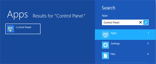 Windows 8 control panel search charm