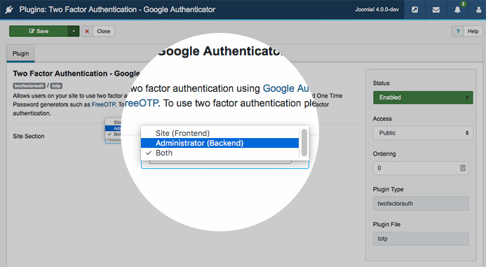 configure 2 factor authentication plugin